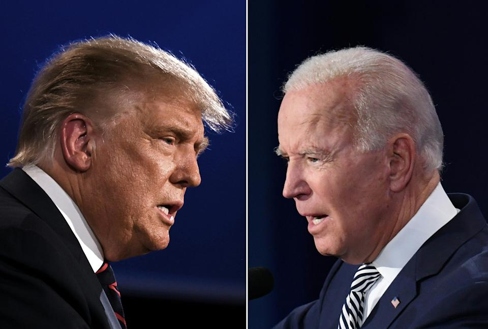 (COMBO) This combination of pictures created on September 29, 2020 shows US President Donald Trump (L) and Democratic Presidential candidate former Vice President Joe Biden squaring off during the first presidential debate at the Case Western Reserve University and Cleveland Clinic in Cleveland, Ohio on September 29, 2020. Democratic Presidential candidate and former US Vice President Joe Biden speaks during the first presidential debate at Case Western Reserve University and Cleveland Clinic in Cleveland, Ohio, on September 29, 2020. (Photos by JIM WATSON and SAUL LOEB / AFP) (Photo by JIM WATSON,SAUL LOEB/AFP via Getty Images)