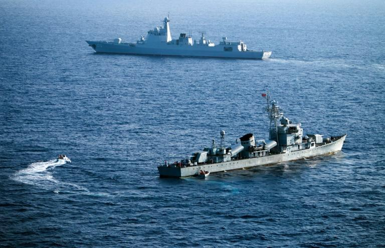 Chinese naval vessels in exercises in 2016 in the contested Paracel islands in the South China Sea - a US Navy ship sailed in the area to assert freedom of navigation rights (AFP Photo/STR)