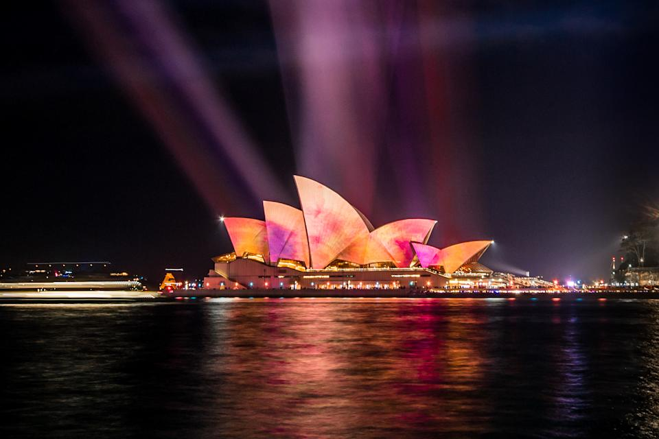 The Sydney Opera House is illuminated on June 8, 2019 in Sydney, Australia. Vivid Sydney is a festival of light, music and ideas that is held annually throughout the Sydney CBD (Photo by Morgan Hancock/NurPhoto via Getty Images)