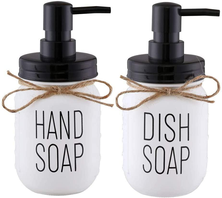 <p>This rust-proof <span>Elwiya Mason Jar Hand Soap Dispenser and Dish Soap Dispenser Set</span> ($19) is such a cute rustic touch to your kitchen!</p>