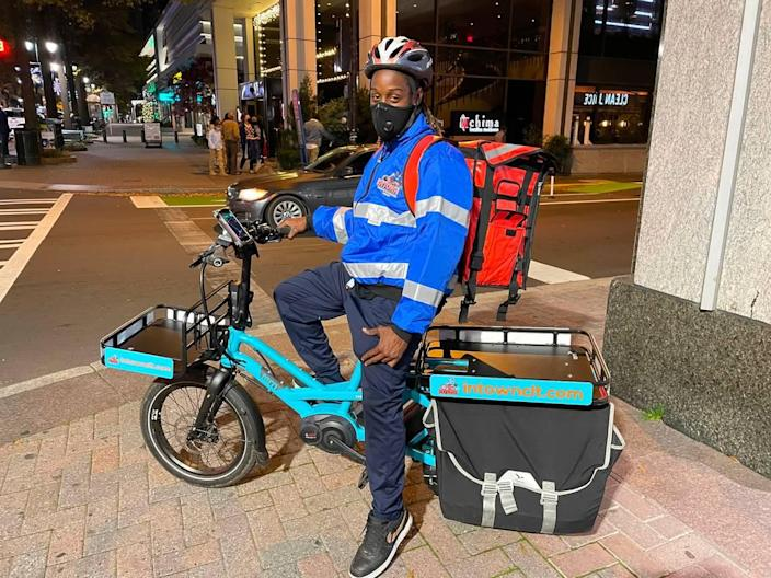The six InTown e-bikes are in action making deliveries from 11 a.m.-8:30 p.m. seven days a week.