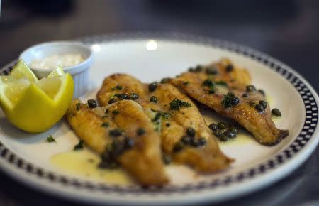 A Sand Dabs plate is pictured at Kate Mantilini restaurant in Beverly Hills, California June 4, 2014.REUTERS/Mario Anzuoni