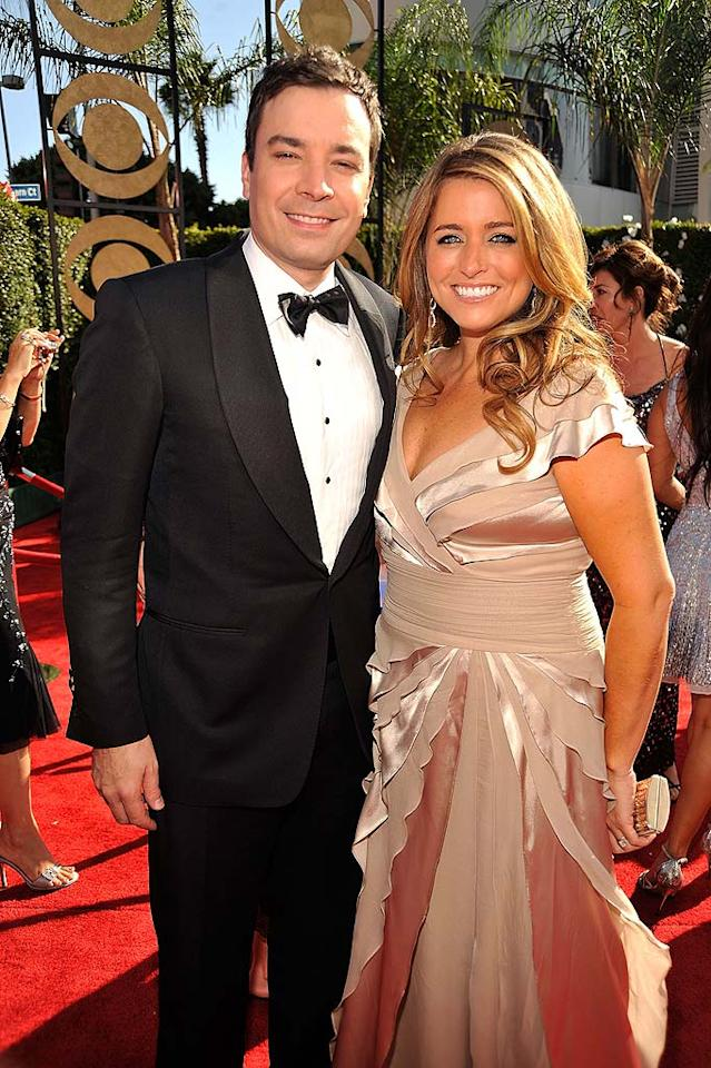 """Jimmy Fallon (""""Late Night With Jimmy Fallon"""") and wife producer Nancy Juvonen arrive at the 61st Primetime Emmy Awards held at the Nokia Theatre on September 20, 2009, in Los Angeles."""