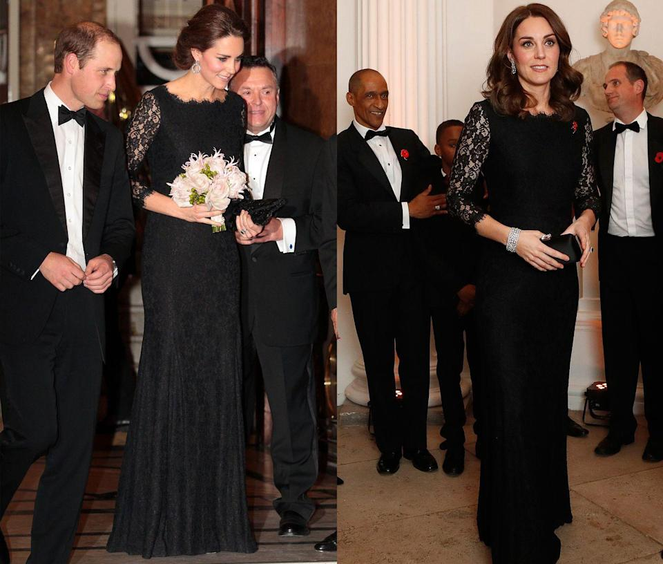 <p>This Diane von Furstenberg black lace gown has been worn twice by Kate Middleton, once to a Royal Variety performance in November 2014 and again in November 2017. </p>