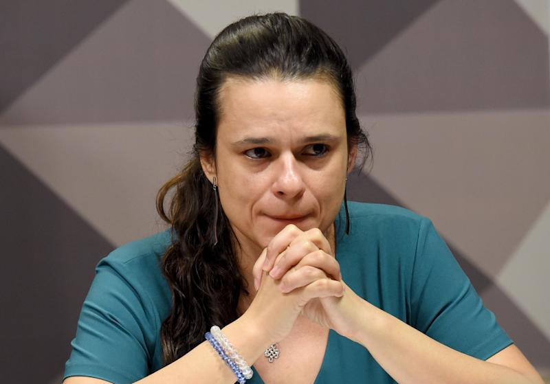 Brazilian jurist Janaina Paschoal, co-author of the complaint against President Dilma Rousseff, attends a sesion of the Senate's Impeachment Special Committee in Brasilia, on April 28, 2016. Rousseff's case was sent to the Senate by the lower house after an overwhelming vote against her on April 17. She is accused of illegal government accounting maneuvers, but says she has not committed an impeachment-worthy crime. / AFP / EVARISTO SA (Photo credit should read EVARISTO SA/AFP via Getty Images)