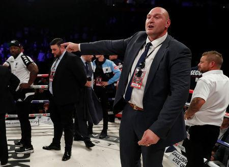 FILE PHOTO - Boxing - Joseph Parker vs Hughie Fury - WBO World Heavyweight Title - Manchester Arena, Manchester, Britain - September 23, 2017 Tyson Fury reacts in the ring after Hughie Fury loses the fight to a majority decision Action Images via Reuters/Andrew Couldridge