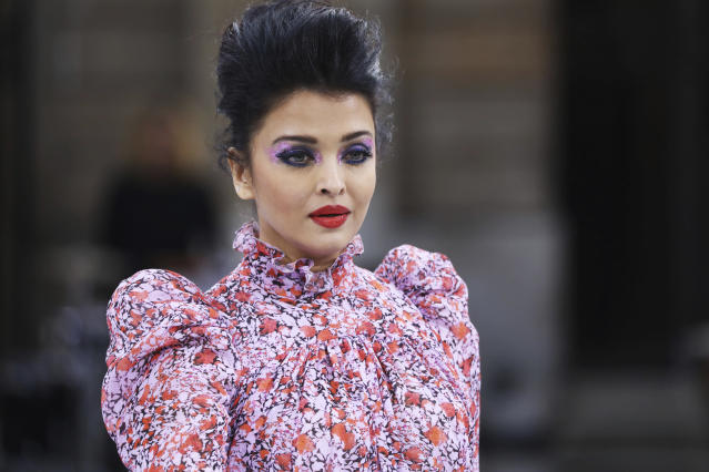 Actress Aishwarya Rai wears a creation as part of the L'Oreal Ready To Wear Spring-Summer 2020 collection, unveiled during the fashion week, in Paris, Saturday, Sept. 28, 2019. (Photo by Vianney Le Caer/Invision/AP)