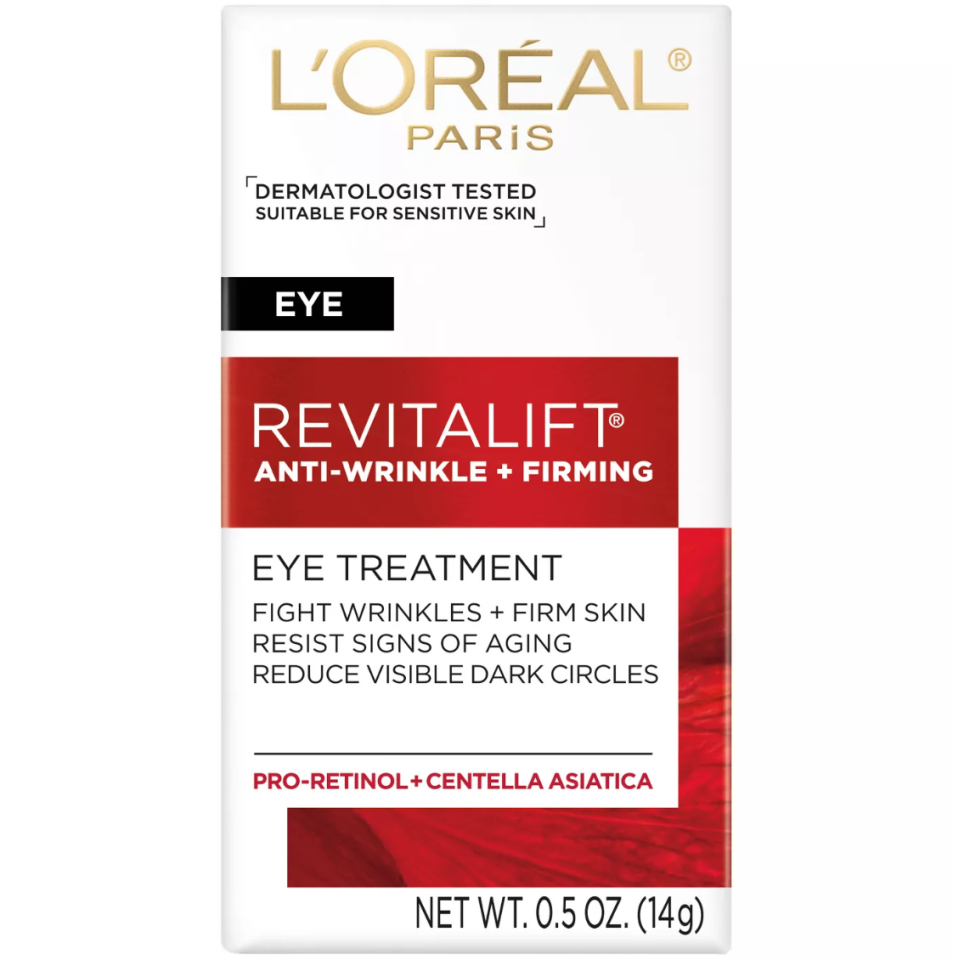 """<p><strong>L'Oréal Paris</strong></p><p>lorealparisusa.com</p><p><strong>$17.98</strong></p><p><a href=""""http://www.lorealparisusa.com/en/products/skin-care/products/eye-creams/revitalift-anti-wrinkle-firming-eye-cream.aspx"""" target=""""_blank"""">Shop Now</a></p><p>See visible improvements in dark circles and signs of aging in as little as four weeks with this pro-retinol powerhouse.</p>"""