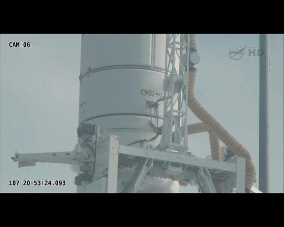 Orbital Sciences' Antares rocket first test flight was scrubbed on April 17, 2013, about 12 minutes before scheduled launch. An umbilical on the second stage prematurely disconnected.