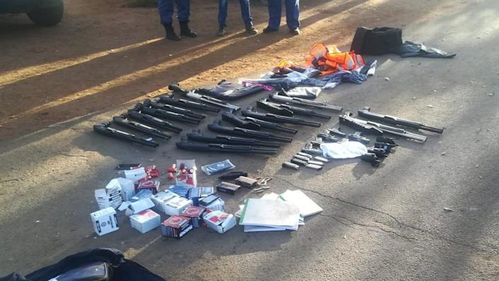 A number of weapons have been recovered by police