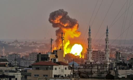 A fireball explodes in Gaza City during Israeli bombardment on July 20, 2018