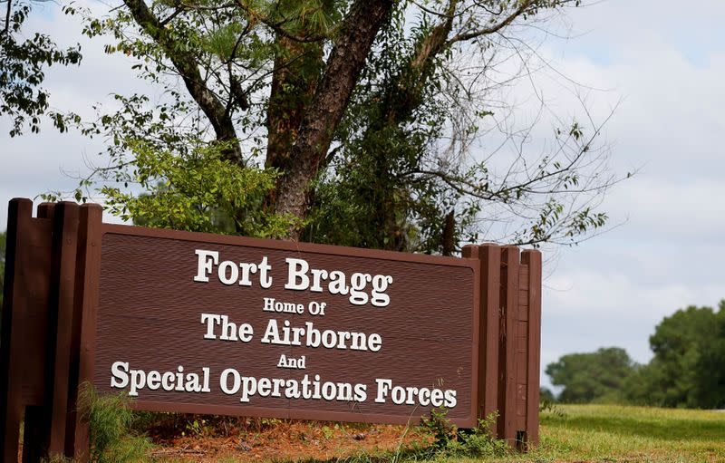 FILE PHOTO: A sign of Fort Bragg is seen in Fayetteville, North Carolina