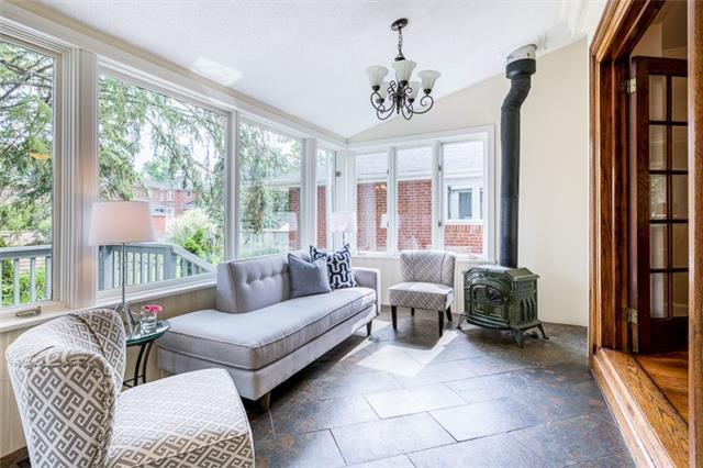 <p><span>97 Queens Dr., Toronto, Ont.</span><br> There's a stove to keep you cozy in the the sun room, perfect to curl up next to with a good book.<br> (Photo: Zoocasa) </p>