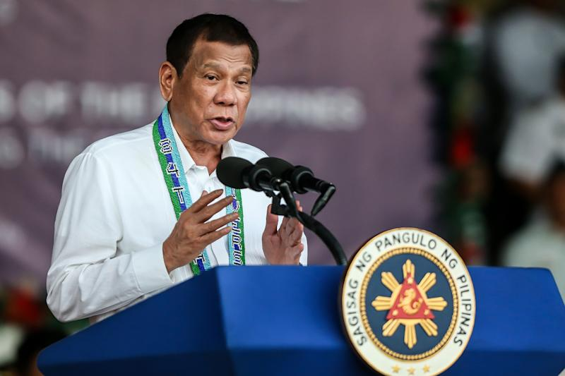 QUEZON, Dec. 17, 2019 -- Philippine President Rodrigo Duterte speaks during the celebration of the 84th anniversary of the Armed Forces of the Philippines inside Camp Aguinaldo in Quezon City, the Philippines, Dec. 17, 2019. (Photo by Rouelle Umali/Xinhua via Getty) (Xinhua/ROUELLE UMALI via Getty Images)