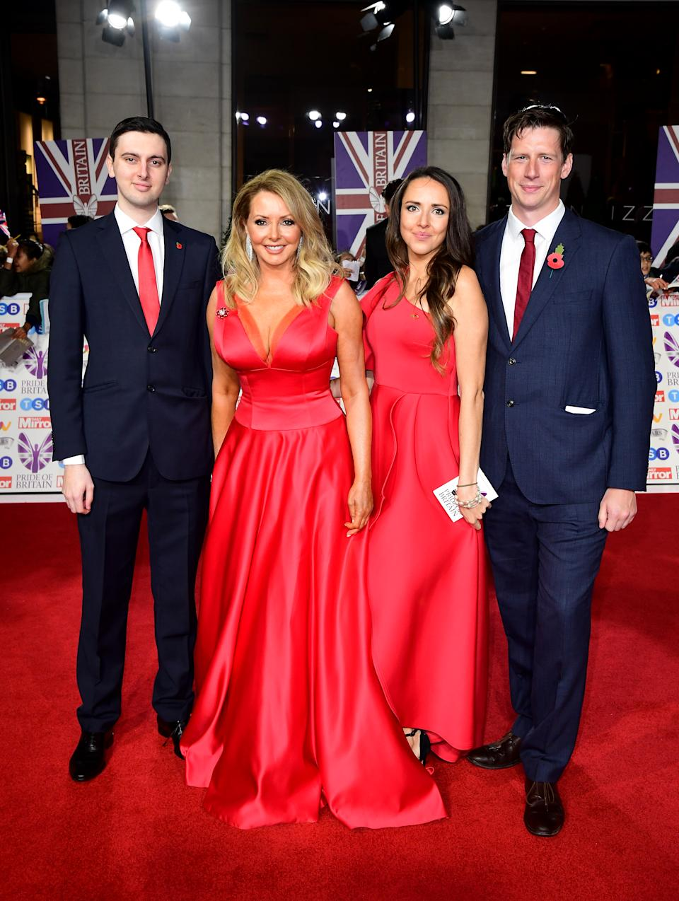 Cameron King, Carol Vorderman, Katie King and guest arriving for the Pride of Britain Awards held at the The Grosvenor House Hotel, London. (Photo by Ian West/PA Images via Getty Images)