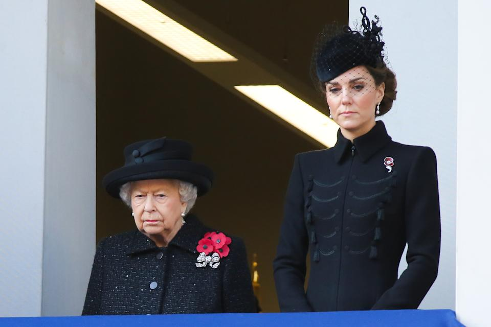 Queen Elizabeth II and Catherine, Duchess of Cambridge (L to R) attend the annual Remembrance Sunday memorial at The Cenotaph, in Whitehall, London. (Photo by Steve Taylor / SOPA Images/Sipa USA)