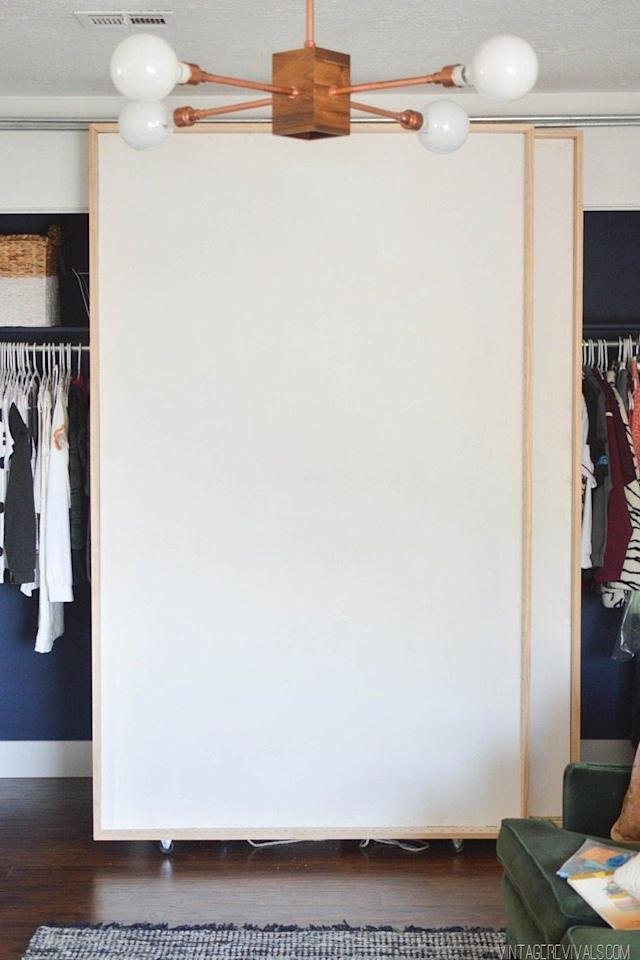 """<p>Never again will you have to walk from end to end in search of what you need. These bypass doors will save your life, and are easy to DIY.  Get the full tutorial from <a href=""""https://vintagerevivals.com/diy-bypass-barn-doors-part-1/"""" target=""""_blank"""">Vintage Revivals</a>.</p>"""