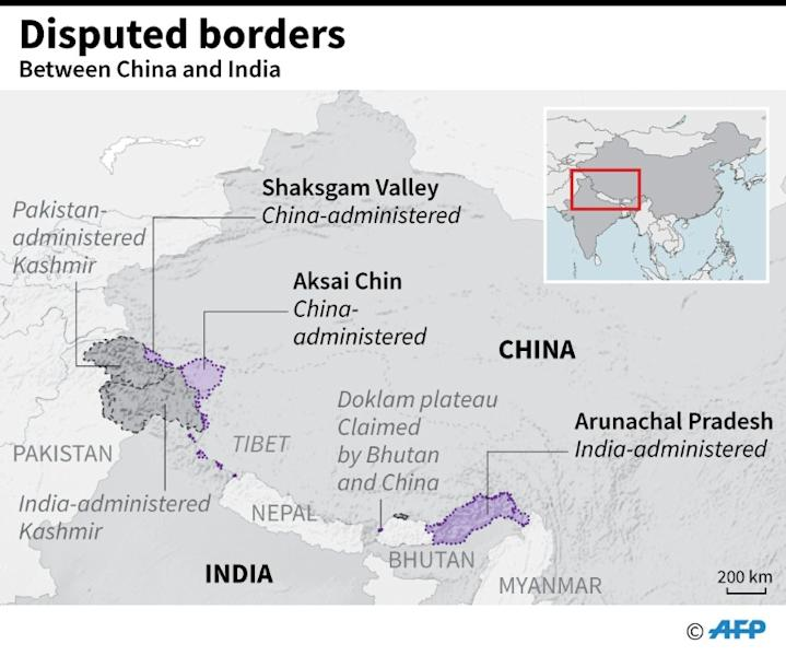 """Map showing disputed borders between China and India, as an """"informal summit"""" between Indian Prime Minister Narendra Modi and Chinese President Xi Jinping took place Friday. (AFP Photo/Laurence CHU)"""