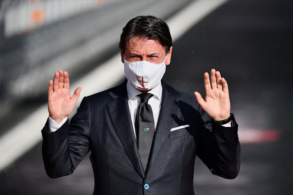 GENOA, ITALY - 2020/08/03: Italian Prime Minister Giuseppe Conte wearing a facemask arrives at the official inauguration ceremony of the new San Giorgio bridge. The new San Giorgio bridge designed by architect Renzo Piano replaces Morandi bridge that collapsed in August 2018 and the new bridge is set to reopen on 05 August 2020 during the inauguration ceremony. (Photo by Mattia Ozbot/SOPA Images/LightRocket via Getty Images) (Photo: SOPA Images via Getty Images)