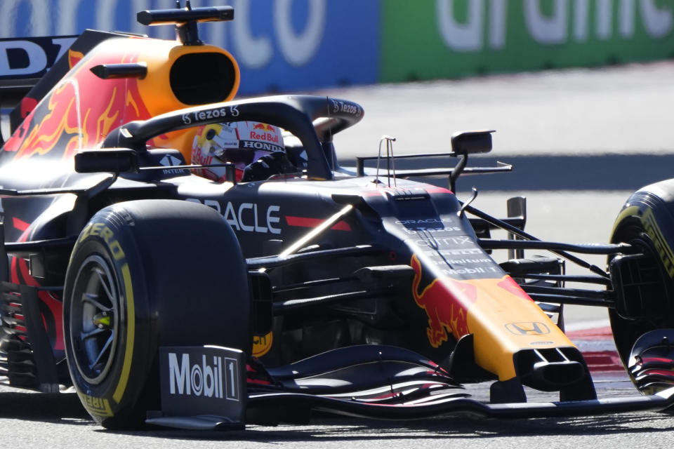 Red Bull driver Max Verstappen of the Netherlands steers his car during the second practice session at the Sochi Autodrom circuit, in Sochi, Russia, Friday, Sept. 24, 2021. The Russian Formula One Grand Prix will be held on Sunday. (AP Photo/Sergei Grits)