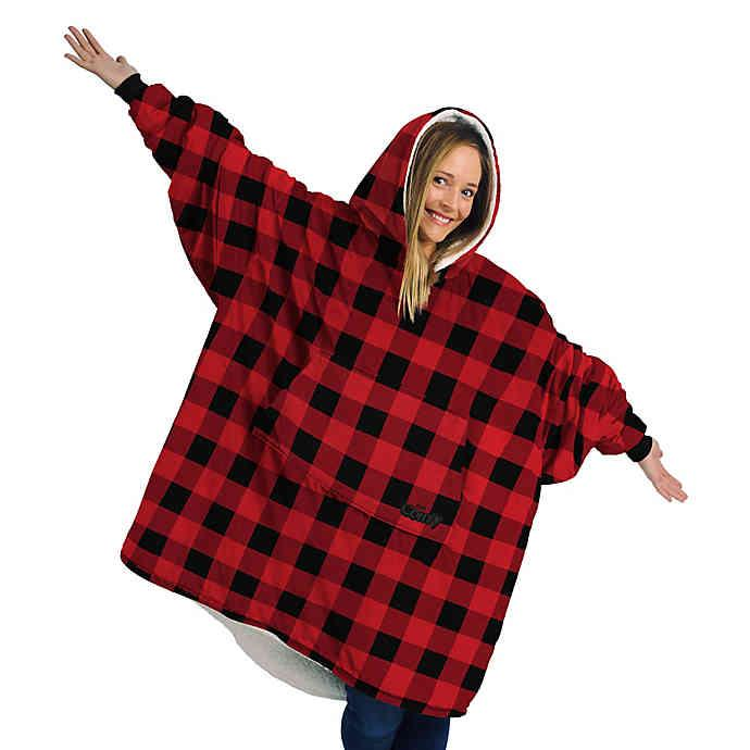 The Comfy The Original One Size Sweatshirt Blanket in Buffalo Check