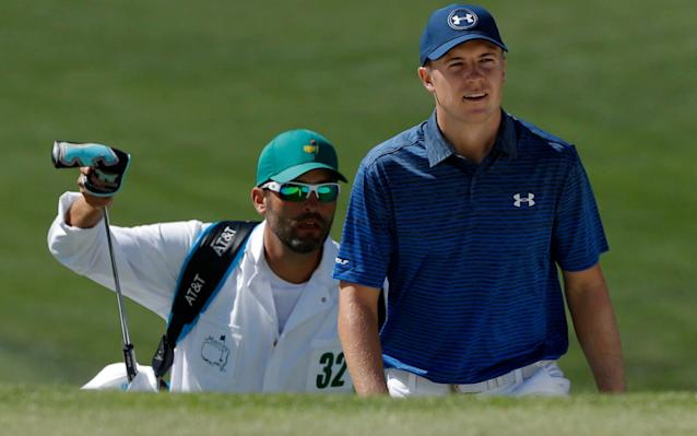 Jordan Spieth with his maths teacher caddie, Michael Greller - REUTERS