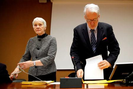 FILE PHOTO: Paulo Pinheiro, Chairperson of the Commission of Inquiry on Syria, arrives with Karen Abuzayd, member of the Commission before the launch of their report on sexual and gender-based violence in Syria at the United Nations office in Geneva, Switzerland March 15, 2018.  REUTERS/Denis Balibouse/File Photo