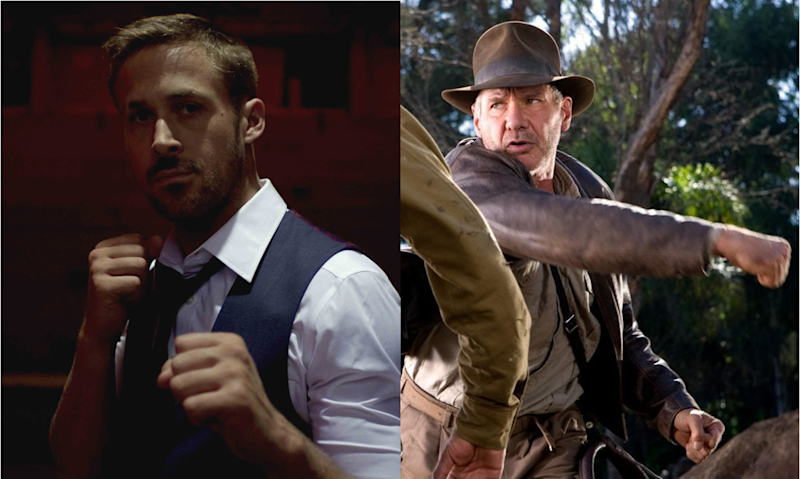 Ryan Gosling in 'Only God Forgives' and Harrison Ford as Indiana Jones. (Credit: Gaumont / LucasFilm)