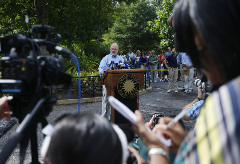 Dennis Kelly, Director of the National Zoo, during a news conference at the National Zoo in Washington the day after it was announced that the Zoo's female giant panda gave birth to a cub, Monday, Sept. 17, 2012, in Fairfax, Va. Mei Xiang gave birth Sunday at 10:46 pm, but the zoo staff has yet to see the new cub because Mei Xiang has built a large nest in her den. (AP Photo/Pablo Martinez Monsivais)