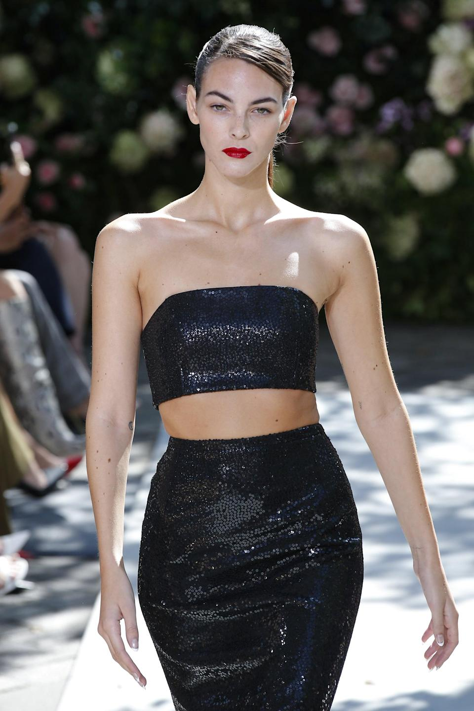 <p>We wouldn't be surprised to see Lori wearing this on one of her nights out with Michael B. Jordan. With the skin reveal and the tube top silhoeutte, it is sultry and extremely elegant, not unline many of the model's date-night outfits.</p>