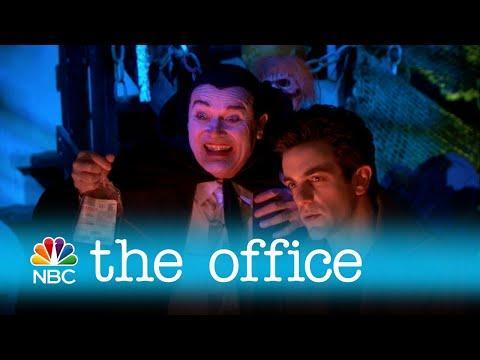 """<p>If you're watching this episode on Netflix, you won't see any trace of Halloween. The Haunted Warehouse scene served as the cold open when the episode aired in 2009, but NBC deleted it for streaming (perhaps because Michael Scott scares a group of school children by staging his own suicide). </p><p><strong>Jim's Costume:</strong> Face Book</p><p><a href=""""https://www.youtube.com/watch?v=00TlpDbwS4Q"""" rel=""""nofollow noopener"""" target=""""_blank"""" data-ylk=""""slk:See the original post on Youtube"""" class=""""link rapid-noclick-resp"""">See the original post on Youtube</a></p>"""