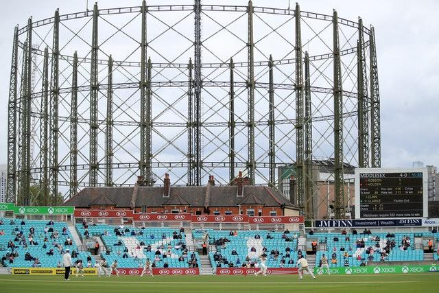 Fans socially distance at a test event at the Kia Oval last month