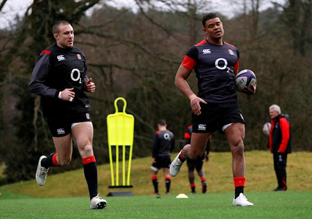 Rugby Union - England Training - Pennyhill Park, Bagshot, Britain - February 20, 2018 England's Mike Brown and Nathan Earle during training Action Images via Reuters/Paul Childs