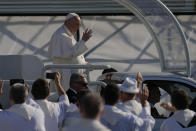 Pope Francis arrives in the esplanade of the National Shrine in Sastin, Slovakia, Wednesday, Sept. 15, 2021. Pope Francis is to hold an open air mass in Sastin, the site of an annual pilgrimage each September 15 to venerate Slovakia's patron, Our Lady of Sorrows. (AP Photo/Petr David Josek)