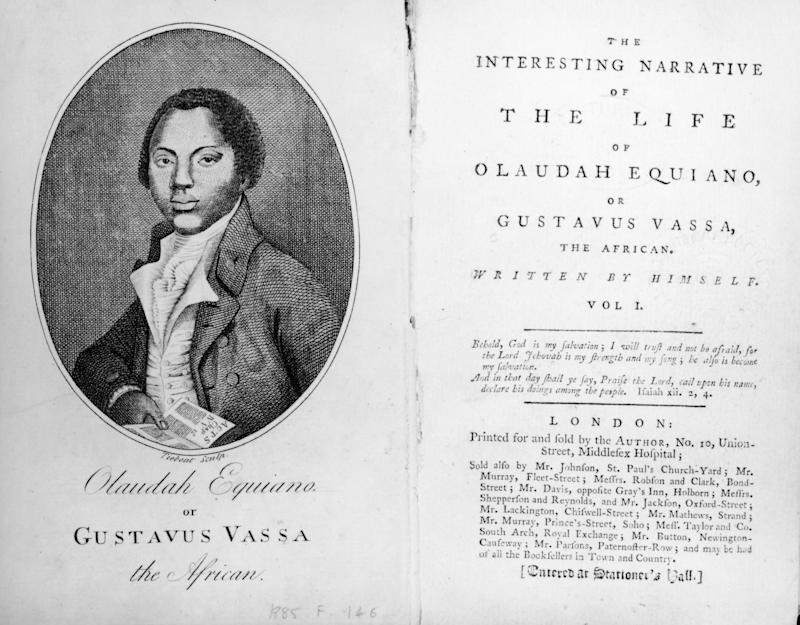 Book cover with portrait of Olaudah Equiano with caption 'Olaudah Equiano or Gustavus Vassa the African', circa 1885. (Photo by Fotosearch/Getty Images).