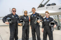 """In this Aug. 8, 2021 photo provided by John Kraus, from left, Chris Sembroski, Sian Proctor, Jared Isaacman and Hayley Arceneaux stand for a photo in Bozeman, Mont., during a """"fighter jet training"""" weekend to familiarize the crew with G-forces. (John Kraus/Inspiration4 via AP)"""