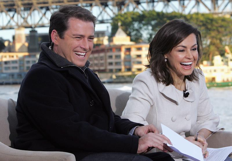 Karl Stefanovic and Lisa Wilkinson live on-air as part of the Today Show 25th birthday celebrations outside the Sydney Opera House on June 28, 2007 in Sydney, Australia.