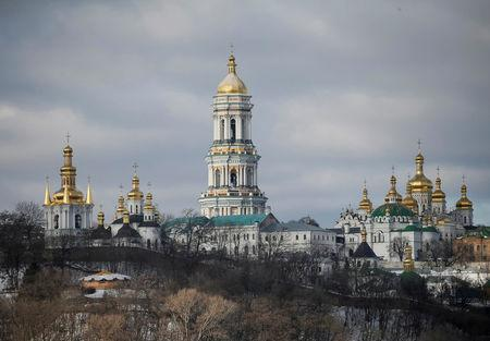 FILE PHOTO: General view shows bell tower and domes of Kiev Pechersk Lavra monastery in Kiev