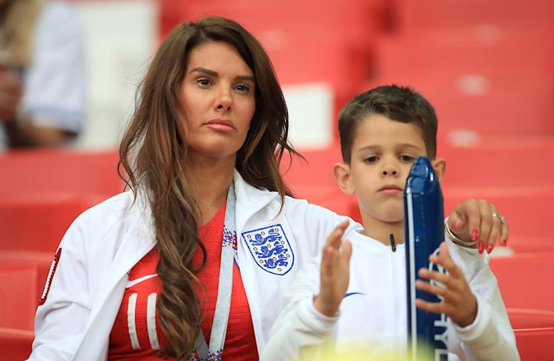 Rebekah Vardy in the stands ahead of the FIFA World Cup 2018, round of 16 match at the Spartak Stadium, Moscow. (Photo by Adam Davy/PA Images via Getty Images)