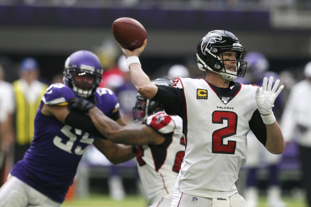 Atlanta Falcons quarterback Matt Ryan throws a pass during the second half of an NFL football game against the Minnesota Vikings, Sunday, Sept. 8, 2019, in Minneapolis. (AP Photo/Jim Mone)