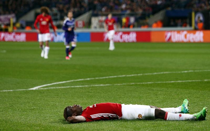 Pogba takes a moment after missing a golden chance to put United 2-0 up - Credit: Matt West/BPI/REX/Shutterstock