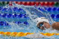Erica Sullivan, of the United States, swims in a heat during the women's 1500-meter freestyle at the 2020 Summer Olympics, Monday, July 26, 2021, in Tokyo, Japan. (AP Photo/Martin Meissner)