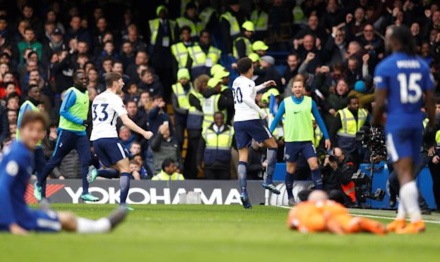 Dele Alli celebrates scoring Spurs' third goal against Chelsea in Tottenham's first-ever Premier League win at Stamford Bridge. (Getty)