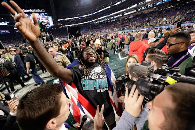 <p>Philadelphia Eagles running back Jay Ajayi celebrates after winning the NFL Super Bowl 52 football game against the New England Patriots, Sunday, Feb. 4, 2018, in Minneapolis. The Eagles won 41-33. (AP Photo/Frank Franklin II) </p>