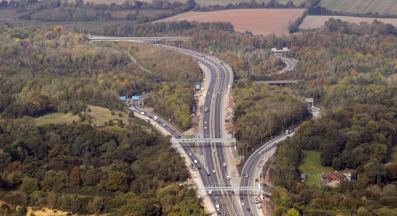 An aerial view of the M25 junction with the M23 in Surrey.