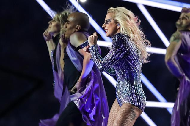 <p>Lady Gaga performs during halftime between the Atlanta Falcons and the New England Patriots during Super Bowl LI at NRG Stadium. Mandatory Credit: Dan Powers-USA TODAY Sports </p>