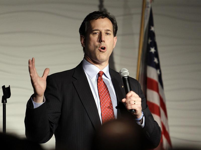 Republican presidential candidate, former Pennsylvania Sen. Rick Santorum speaks during a campaign rally, Sunday, Feb. 26, 2012, in Traverse City, Mich. (AP Photo/Eric Gay)