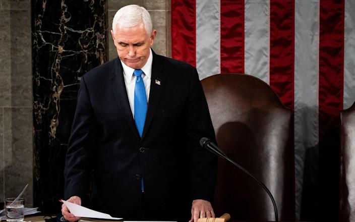 Mike Pence presides over a joint session of Congress to certify the 2020 Electoral College results - Getty