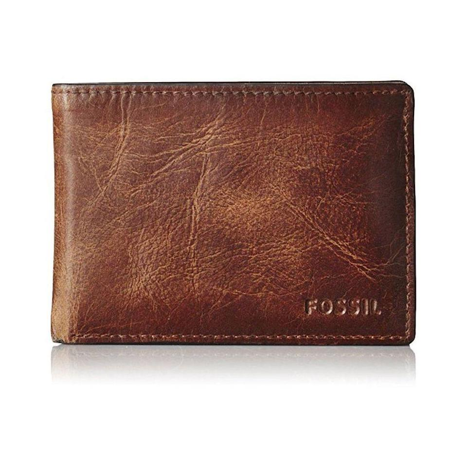 """<p><strong>Fossil</strong></p><p>amazon.com</p><p><strong>$34.00</strong></p><p><a href=""""https://www.amazon.com/dp/B013L60ZYU?tag=syn-yahoo-20&ascsubtag=%5Bartid%7C2139.g.19520579%5Bsrc%7Cyahoo-us"""" rel=""""nofollow noopener"""" target=""""_blank"""" data-ylk=""""slk:BUY IT HERE"""" class=""""link rapid-noclick-resp"""">BUY IT HERE</a></p><p>This bi-fold wallet from Fossil is ideal since it has plenty of space but it's still slim enough to fit in a front or back pocket sans bulk. The distressed leather looks better with a few scratches on it, so he won't have to be too careful with it.</p>"""