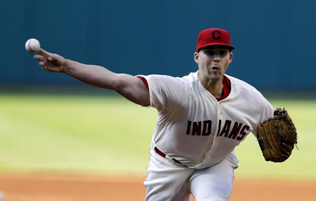 Cleveland Indians starting pitcher Justin Masterson delivers in the first inning of a baseball game against the Chicago White Sox, Saturday, May 3, 2014, in Cleveland. (AP Photo/Tony Dejak)